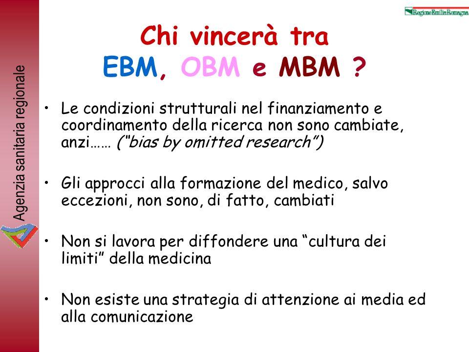 Agenzia sanitaria regionale Chi vincerà tra EBM, OBM e MBM ? Le condizioni strutturali nel finanziamento e coordinamento della ricerca non sono cambia