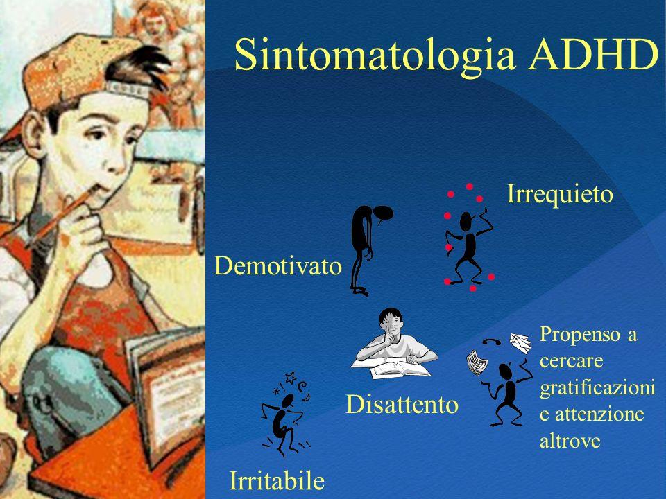 Sintomatologia ADHD Demotivato Disattento Irrequieto Irritabile Propenso a cercare gratificazioni e attenzione altrove