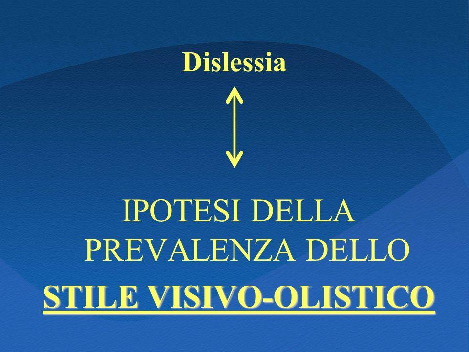 Dislessia IPOTESI DELLA PREVALENZA DELLO STILE VISIVO-OLISTICO