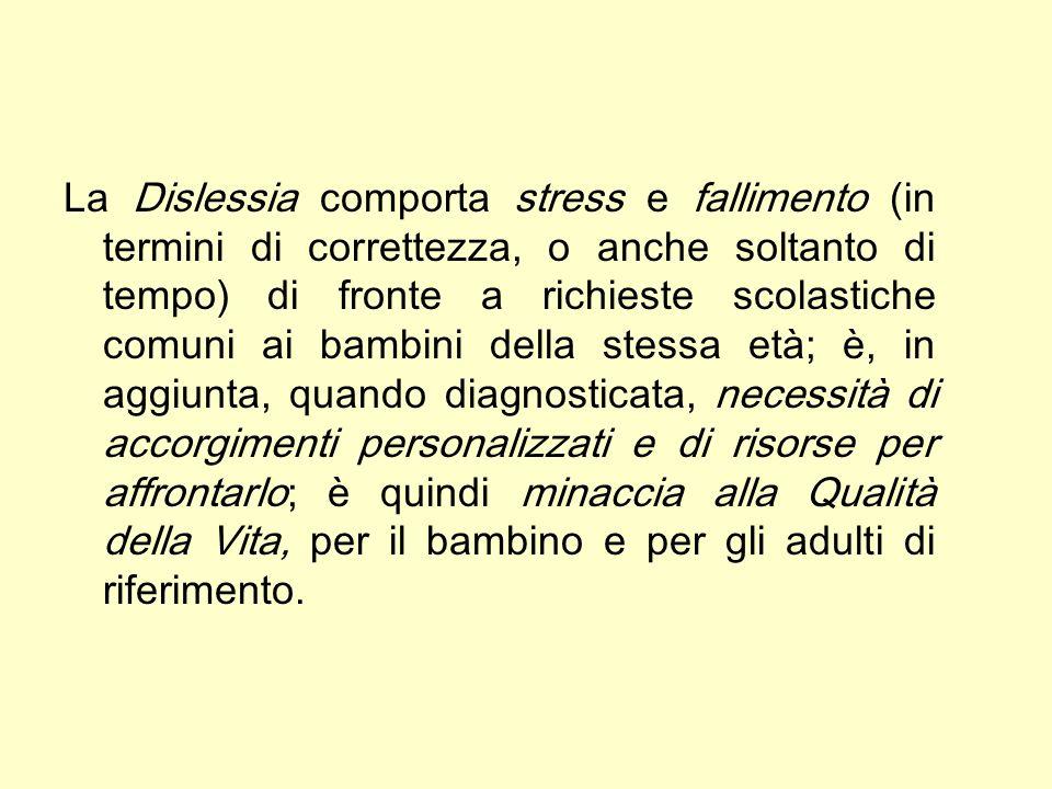 La Dislessia comporta stress e fallimento (in termini di correttezza, o anche soltanto di tempo) di fronte a richieste scolastiche comuni ai bambini d