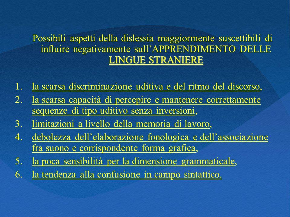 LINGUE STRANIERE Possibili aspetti della dislessia maggiormente suscettibili di influire negativamente sullAPPRENDIMENTO DELLE LINGUE STRANIERE 1.la s