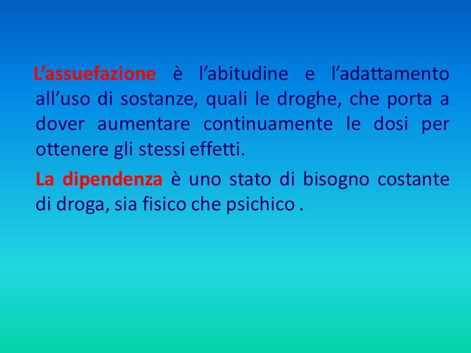 Lassuefazione è labitudine e ladattamento alluso di sostanze, quali le droghe, che porta a dover aumentare continuamente le dosi per ottenere gli stes
