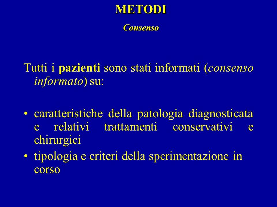 Tutti i pazienti sono stati informati (consenso informato) su: caratteristiche della patologia diagnosticata e relativi trattamenti conservativi e chi