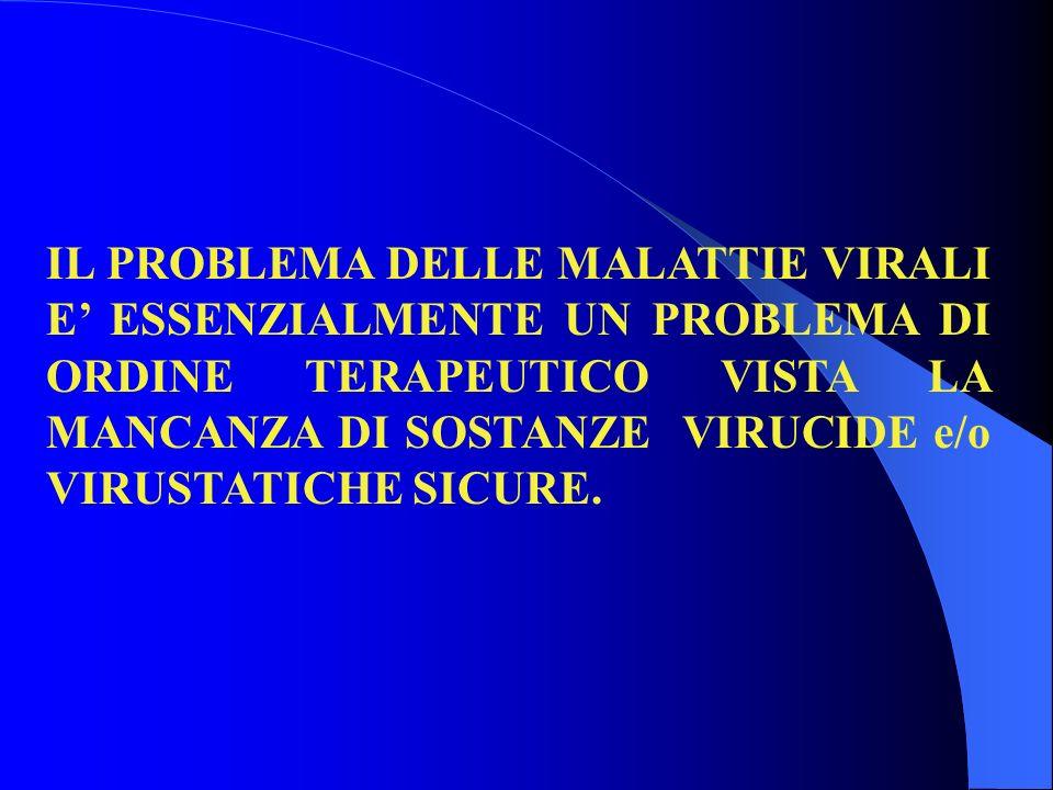 IL PROBLEMA DELLE MALATTIE VIRALI E ESSENZIALMENTE UN PROBLEMA DI ORDINE TERAPEUTICO VISTA LA MANCANZA DI SOSTANZE VIRUCIDE e/o VIRUSTATICHE SICURE.