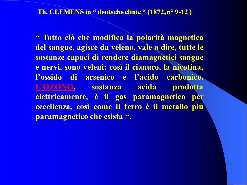 Tutto ciò che modifica la polarità magnetica del sangue, agisce da veleno, vale a dire, tutte le sostanze capaci di rendere diamagnetici sangue e nervi, sono veleni: così il cianuro, la nicotina, lossido di arsenico e lacido carbonico.