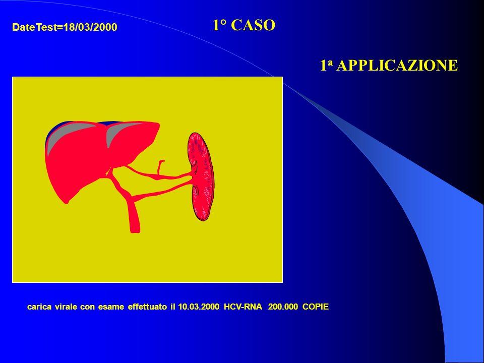 carica virale con esame effettuato il 10.03.2000 HCV-RNA 200.000 COPIE 1° CASO 1 a APPLICAZIONE DateTest=18/03/2000