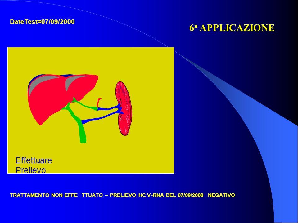 DateTest=07/09/2000 TRATTAMENTO NON EFFETTUATO– PRELIEVO HCV-RNA DEL 07/09/2000 NEGATIVO 6 a APPLICAZIONE Effettuare Prelievo