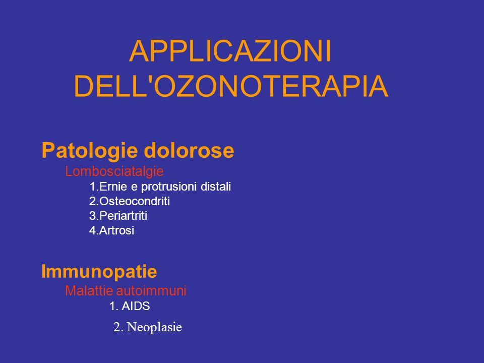 APPLICAZIONI DELL'OZONOTERAPIA Patologie dolorose Lombosciatalgie 1.Ernie e protrusioni distali 2.Osteocondriti 3.Periartriti 4.Artrosi Immunopatie Ma