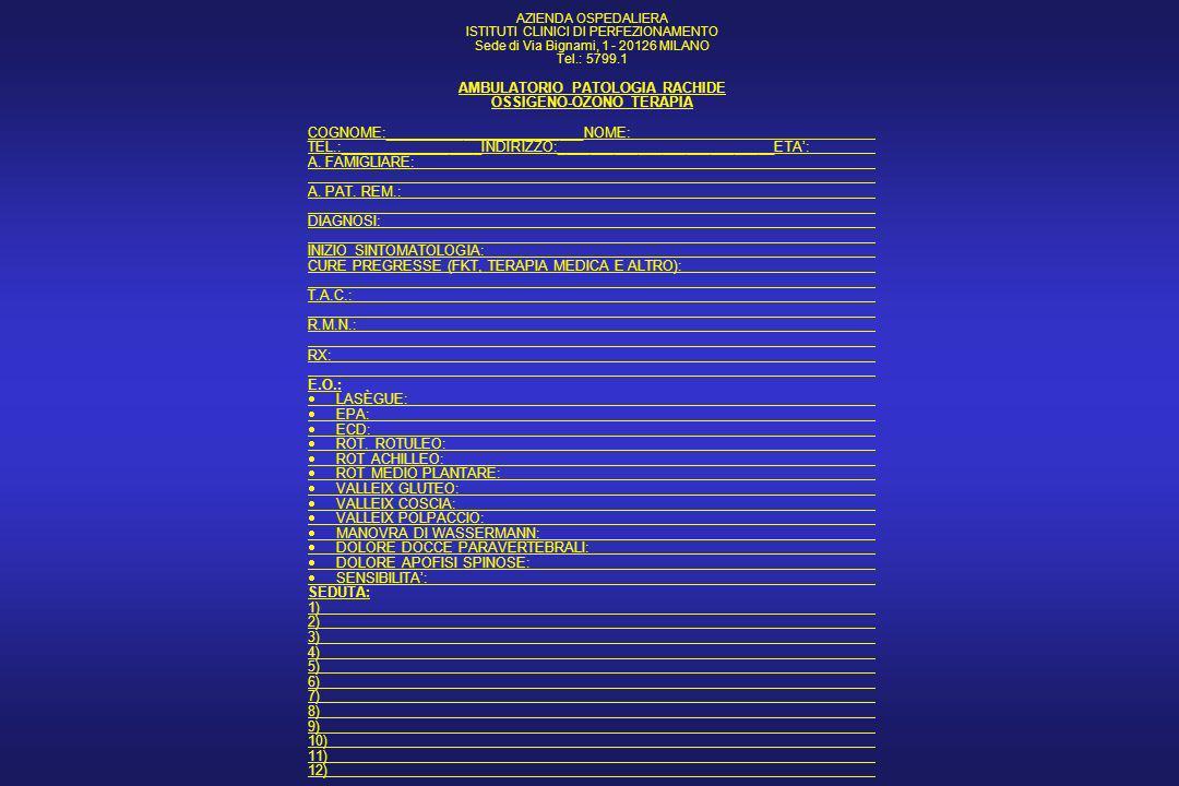 PARAMETRI OGGETTIVI ( SCALA da 1 a 4 ) MANOVRA DI LASEGUE PUNTI DI VALLEIX E.P.A. E.C.D. R.O.T. SENSIBILITA