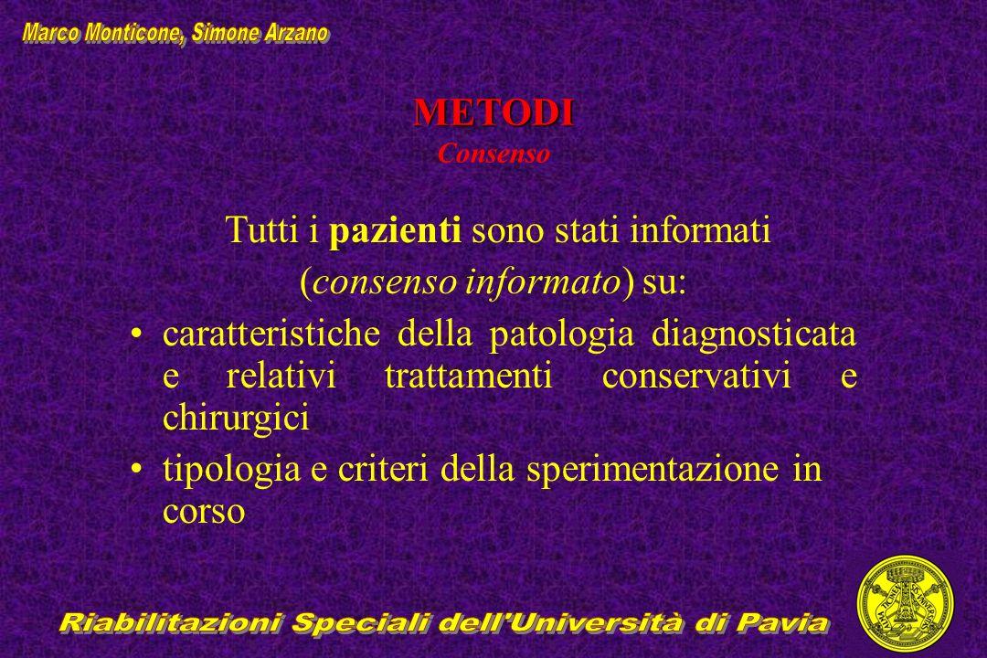 METODI METODI Consenso Tutti i pazienti sono stati informati (consenso informato) su: caratteristiche della patologia diagnosticata e relativi trattam