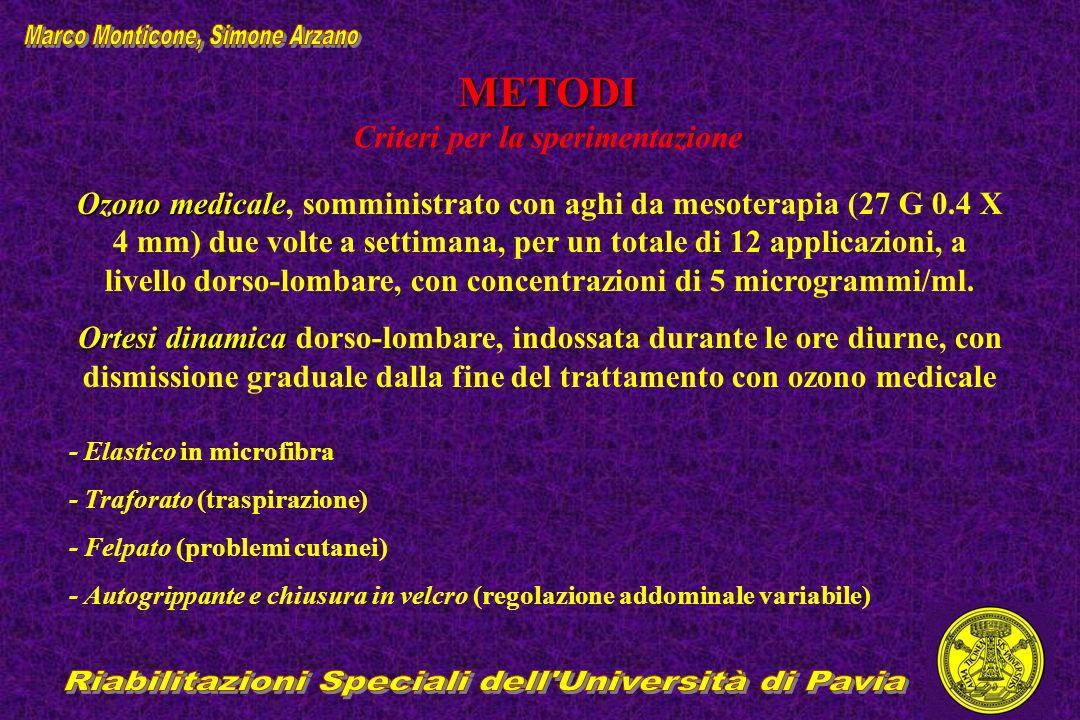 METODI METODI Criteri per la sperimentazione Ozono medicale Ozono medicale, somministrato con aghi da mesoterapia (27 G 0.4 X 4 mm) due volte a settim