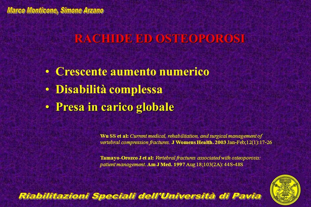 RACHIDE ED OSTEOPOROSI Crescente aumento numerico Disabilità complessa Presa in carico globalePresa in carico globale Wu SS et al: Current medical, re