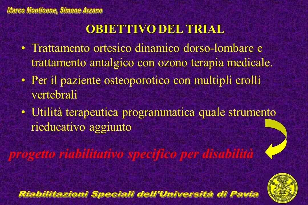 OBIETTIVO DEL TRIAL Trattamento ortesico dinamico dorso-lombare e trattamento antalgico con ozono terapia medicale. Per il paziente osteoporotico con