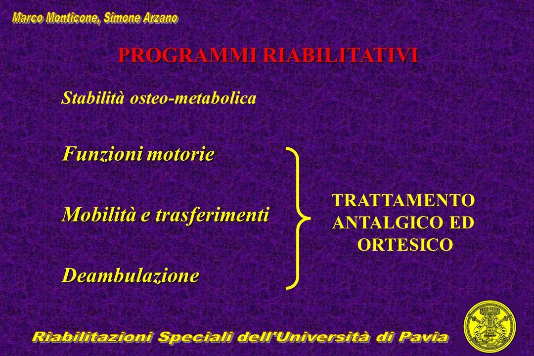 PROGRAMMI RIABILITATIVI Stabilità osteo-metabolica Funzioni motorie Mobilità e trasferimenti Deambulazione TRATTAMENTO ANTALGICO ED ORTESICO