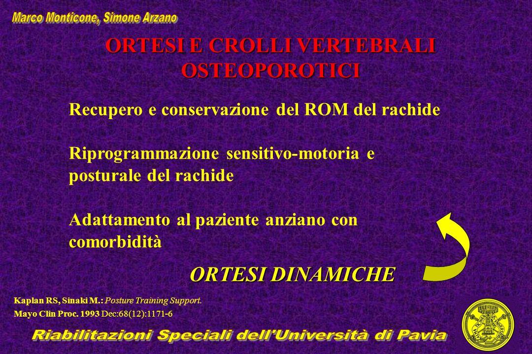 ORTESI E CROLLI VERTEBRALI OSTEOPOROTICI Recupero e conservazione del ROM del rachide Riprogrammazione sensitivo-motoria e posturale del rachide Adatt