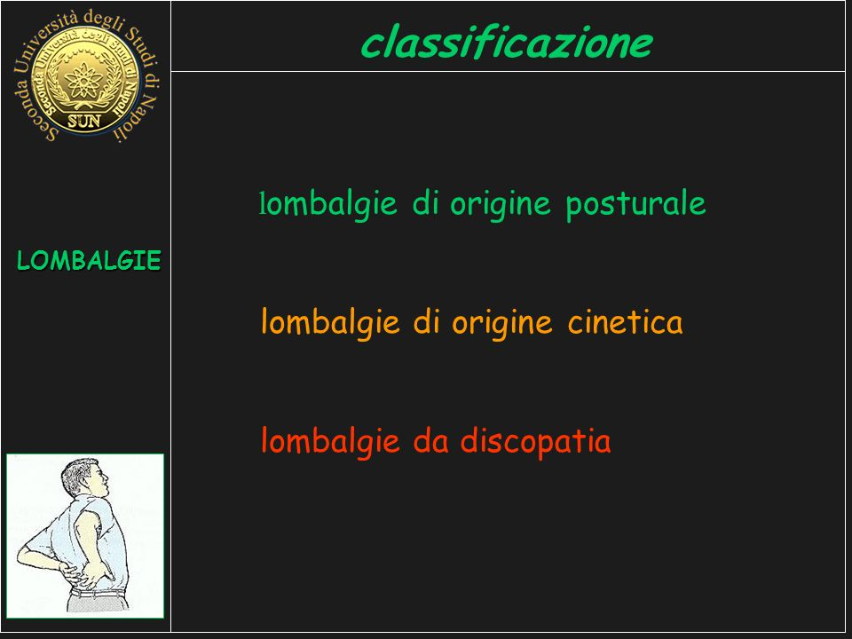 l ombalgie di origine posturale lombalgie di origine cinetica lombalgie da discopatia LOMBALGIE classificazione