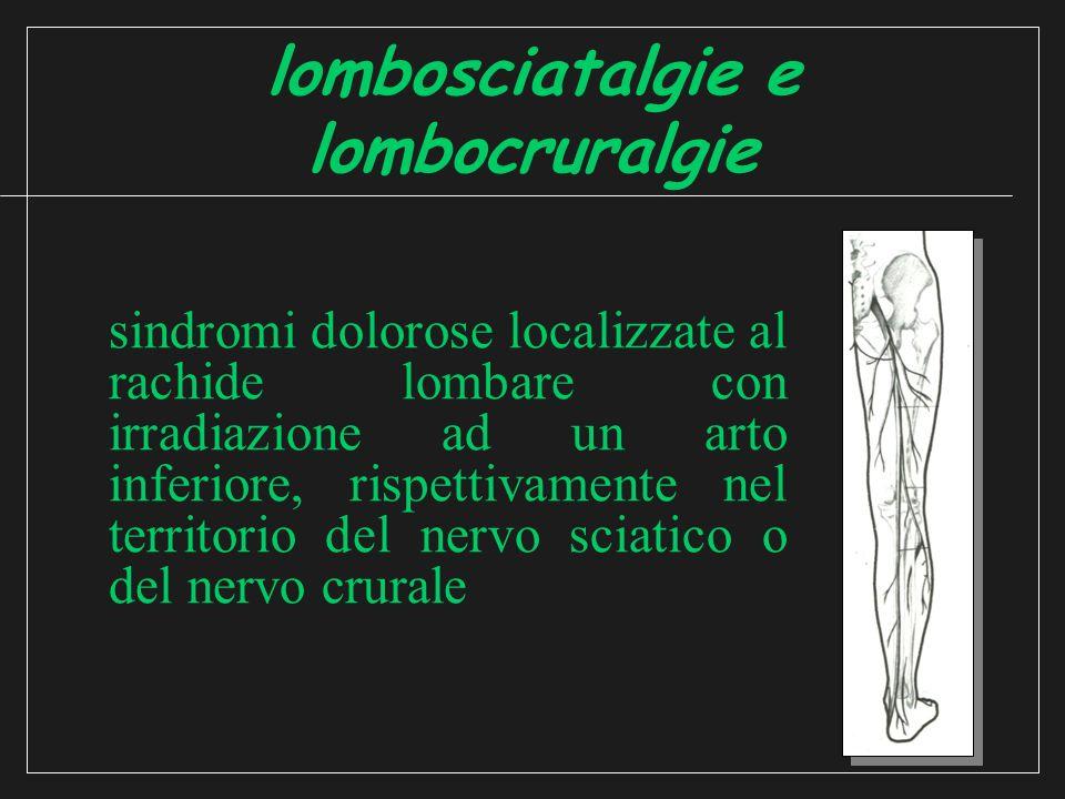 lombosciatalgie e lombocruralgie sindromi dolorose localizzate al rachide lombare con irradiazione ad un arto inferiore, rispettivamente nel territorio del nervo sciatico o del nervo crurale