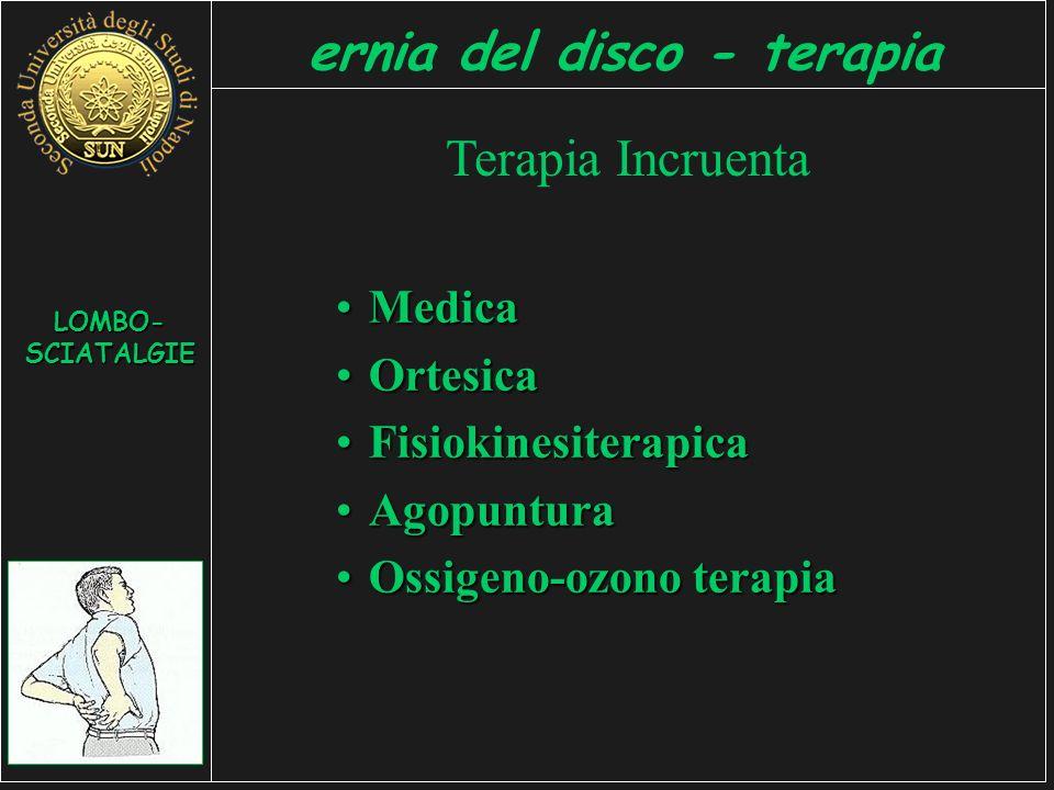 LOMBO- SCIATALGIE ernia del disco - terapia Terapia Incruenta MedicaMedica OrtesicaOrtesica FisiokinesiterapicaFisiokinesiterapica AgopunturaAgopuntura Ossigeno-ozono terapiaOssigeno-ozono terapia