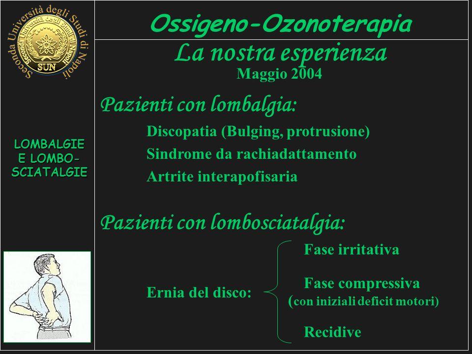 LOMBALGIE E LOMBO- SCIATALGIE Ossigeno-Ozonoterapia La nostra esperienza Maggio 2004 Pazienti con lombalgia: Discopatia (Bulging, protrusione) Sindrome da rachiadattamento Artrite interapofisaria Pazienti con lombosciatalgia: Fase irritativa Ernia del disco: Fase compressiva ( con iniziali deficit motori) Recidive