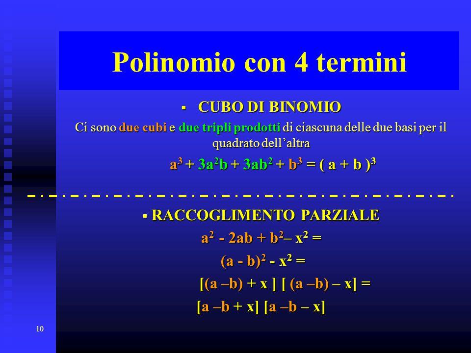 10 Polinomio con 4 termini CUBO DI BINOMIO Ci sono sono due cubi cubi e due tripli prodotti prodotti di ciascuna delle due basi basi per il quadrato d