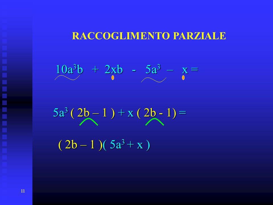 11 RACCOGLIMENTO PARZIALE 10a 3 b 10a 3 b + 2xb - 5a 3 5a 3 – x = ( 2b – 1 )+ x ( 2b - 1) 1) = ( 2b – 1 )( )( 5a 3 5a 3 + x )