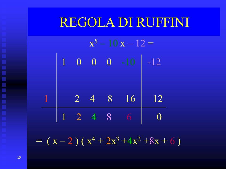 13 REGOLA DI RUFFINI x 5 – 10 x – 12 = 1 0 0 0 -10 -12 1 2 4 8 16 12 1 2 4 8 6 0 = ( x – 2 ) ( x4 x4 + 2x3 2x3 +4x2 +4x2 +8x + 6 )
