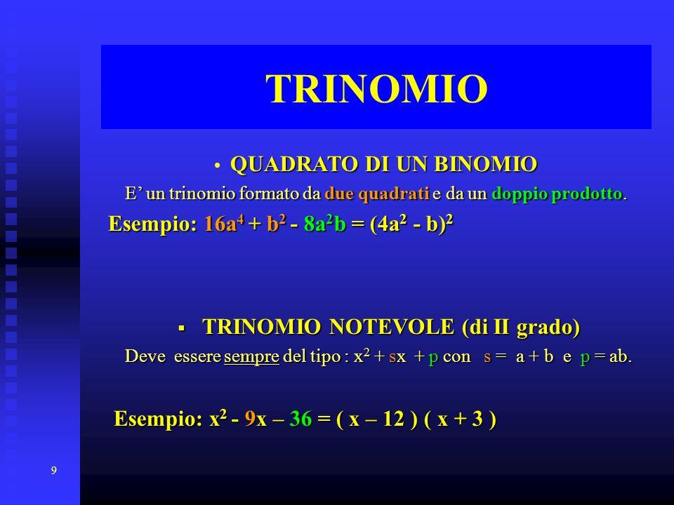 9 TRINOMIO QUADRATO DI UN BINOMIO E un trinomio formato da due quadrati quadrati e da un doppio prodotto. Esempio: 16a 4 16a 4 + b2 b2 b2 b2 - 8a 2 b