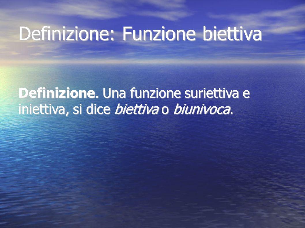 Definizione: Funzione biettiva Definizione. Una funzione suriettiva e iniettiva, si dice biettiva o biunivoca.