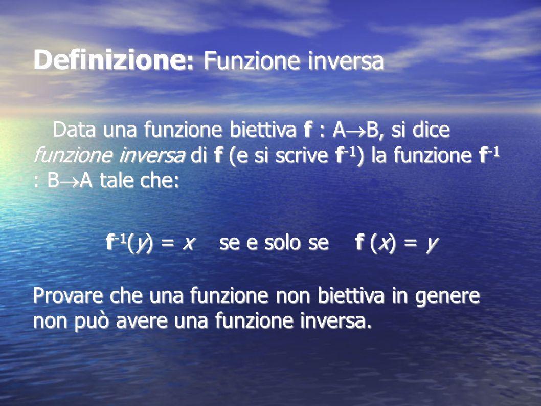 Definizione : Funzione inversa Data una funzione biettiva f : A B, si dice funzione inversa di f (e si scrive f -1 ) la funzione f -1 : B A tale che: