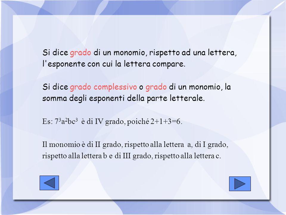 Si dice grado di un monomio, rispetto ad una lettera, l'esponente con cui la lettera compare. Si dice grado complessivo o grado di un monomio, la somm