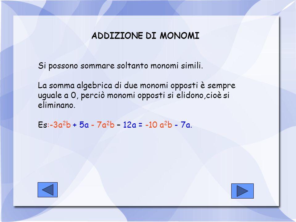 ADDIZIONE DI MONOMI Si possono sommare soltanto monomi simili. La somma algebrica di due monomi opposti è sempre uguale a 0, perciò monomi opposti si