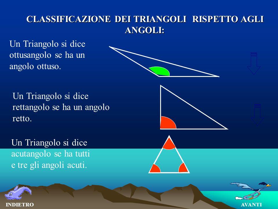 CLASSIFICAZIONE DEI TRIANGOLI RISPETTO AGLI ANGOLI: AVANTIINDIETRO Un Triangolo si dice ottusangolo se ha un angolo ottuso.