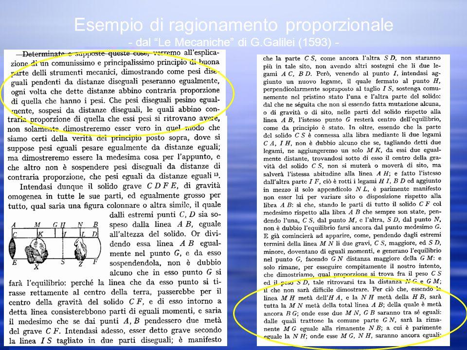 Esempio di ragionamento proporzionale - dal Le Mecaniche di G.Galilei (1593) -