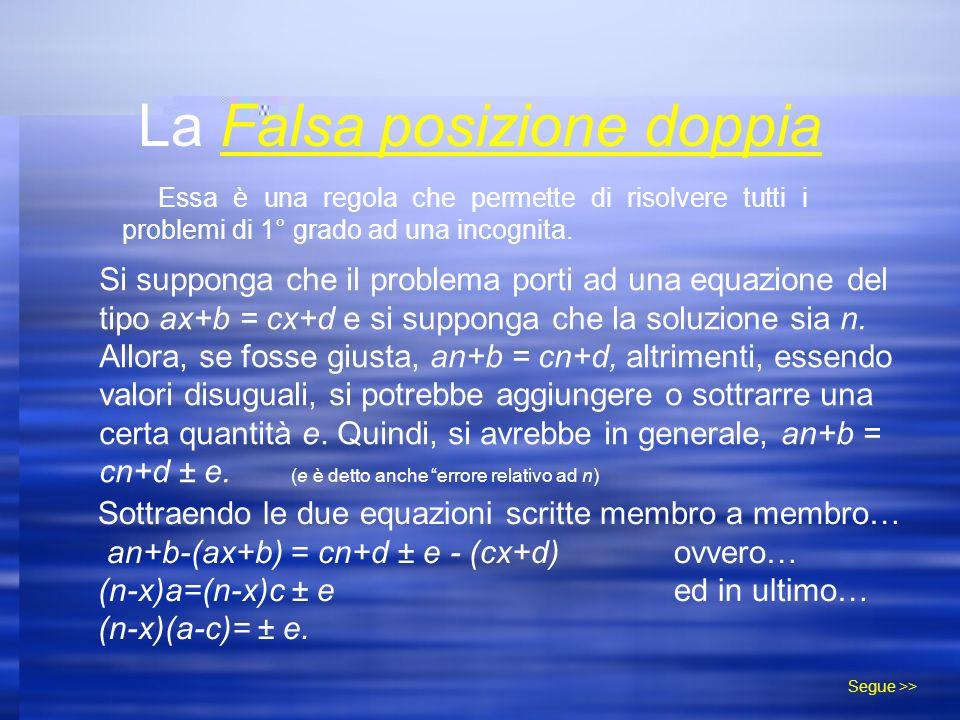La Falsa posizione doppia Essa è una regola che permette di risolvere tutti i problemi di 1° grado ad una incognita.