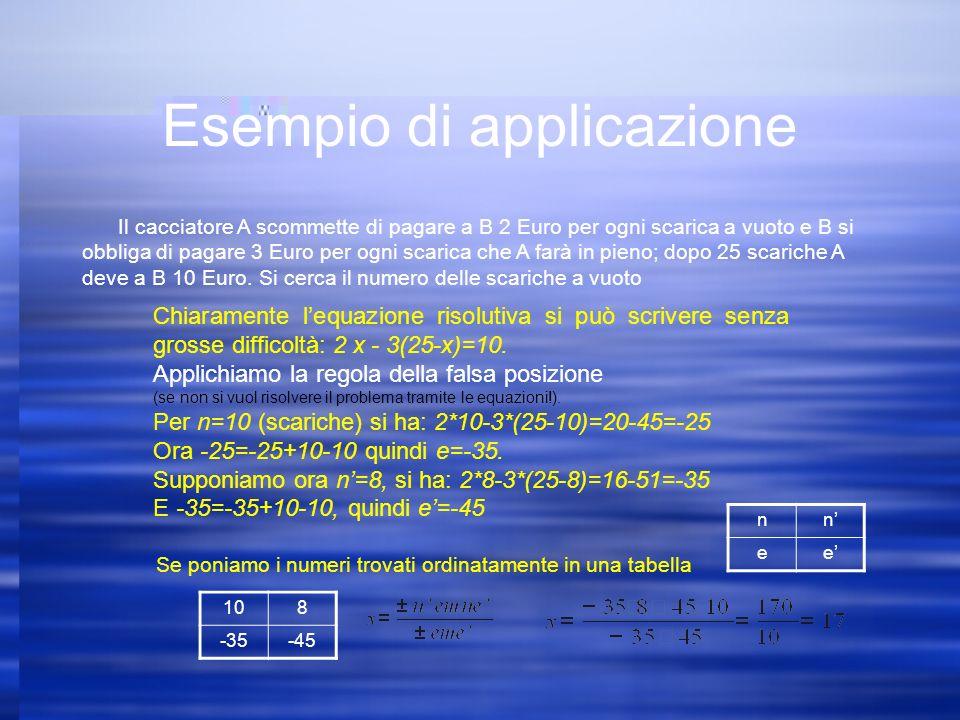 Esempio di applicazione Il cacciatore A scommette di pagare a B 2 Euro per ogni scarica a vuoto e B si obbliga di pagare 3 Euro per ogni scarica che A farà in pieno; dopo 25 scariche A deve a B 10 Euro.