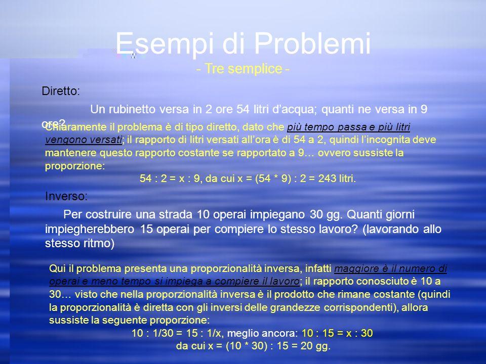 Esempi di Problemi - Tre semplice - Diretto: Un rubinetto versa in 2 ore 54 litri dacqua; quanti ne versa in 9 ore.