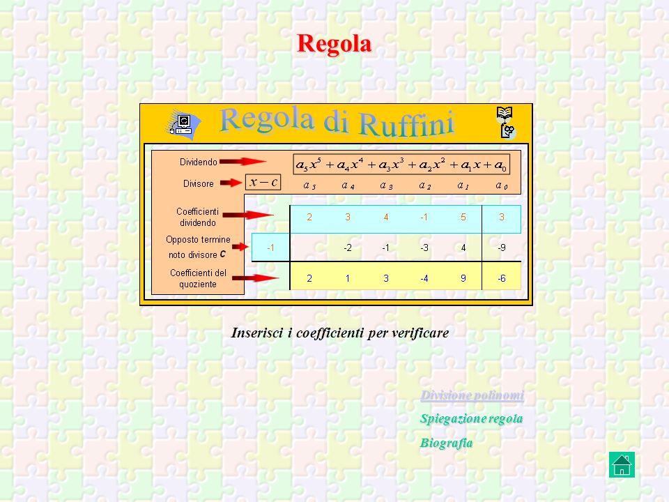 Regola e Teorema di Ruffini Inserisci i coefficienti per verificare Divisione polinomi Spiegazione teorema del resto Spiegazione teorema di Ruffini Biografia