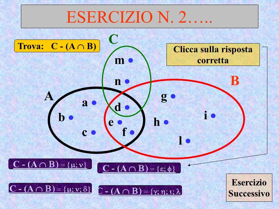 ESERCIZIO N. 2….. A B a d c b e f g h l i Trova: C - (A B) C - (A C m n C - (A Clicca sulla risposta corretta C - (A C - (A Esercizio Successivo
