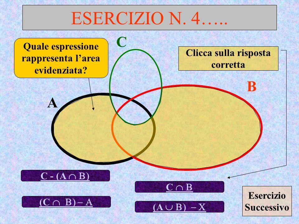 ESERCIZIO N. 4….. A B Quale espressione rappresenta larea evidenziata? C - (A C (C Clicca sulla risposta corretta C (A Esercizio Successivo