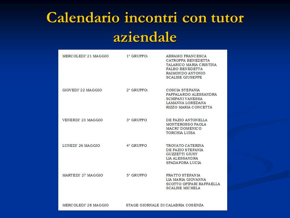 Calendario incontri con tutor aziendale