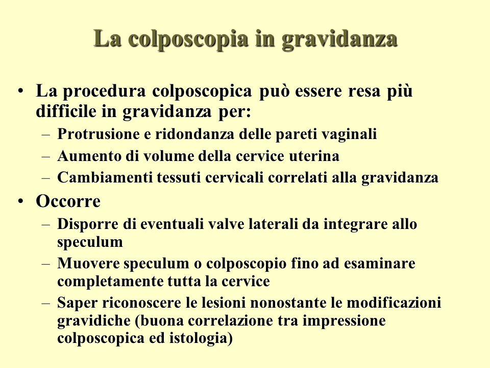 La colposcopia in gravidanza le biopsie La colposcopia in gravidanza le biopsie Biopsie mirateBiopsie mirate –la paura di emorragia è causa di molte mancate biopsie; –per quanto non esistano studi randomizzati, in moltissimi studi osservazionali o retrospettivi non sono riportate complicazioni correlate alla biopsia, e se ne riporta in genere un uso libero Curettage endocervicale:Curettage endocervicale: –non esistono studi randomizzati per valutarne il rischio in gravidanza –in uno studio retrospettivo su 33 donne con CIS sottoposte a curettage endocervicale non vi sono state differenze di outcome della gravidanza rispetto alla popolazione generale – tuttavia in mancanza di trials ben disegnati oggi il curettage endocervicale è ritenuto inaccettabile