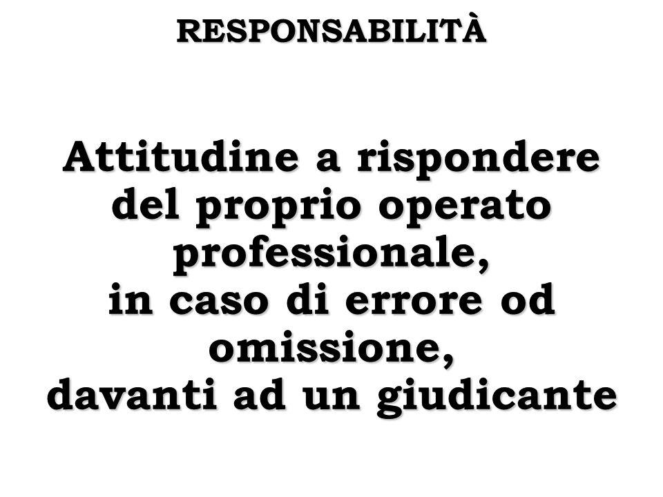 RESPONSABILITÀ Attitudine a rispondere del proprio operato professionale, in caso di errore od omissione, davanti ad un giudicante