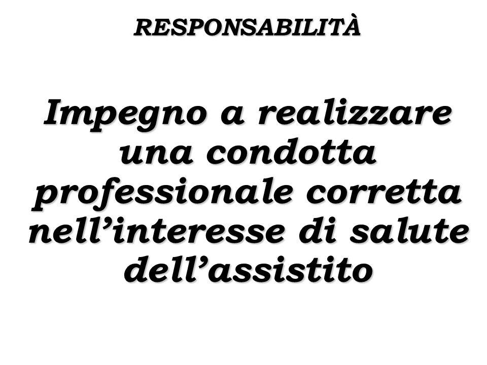 RESPONSABILITÀ Impegno a realizzare una condotta professionale corretta nellinteresse di salute dellassistito