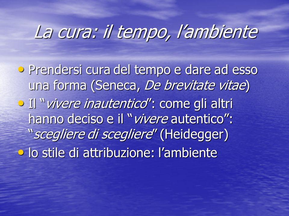 La cura: il tempo, lambiente Prendersi cura del tempo e dare ad esso una forma (Seneca, De brevitate vitae) Prendersi cura del tempo e dare ad esso una forma (Seneca, De brevitate vitae) Il vivere inautentico: come gli altri hanno deciso e il vivere autentico:scegliere di scegliere (Heidegger) Il vivere inautentico: come gli altri hanno deciso e il vivere autentico:scegliere di scegliere (Heidegger) lo stile di attribuzione: lambiente lo stile di attribuzione: lambiente