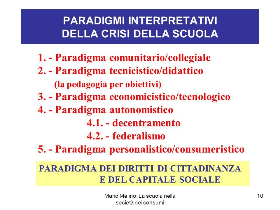 Mario Melino: La scuola nella società dei consumi 10 PARADIGMI INTERPRETATIVI DELLA CRISI DELLA SCUOLA 1.