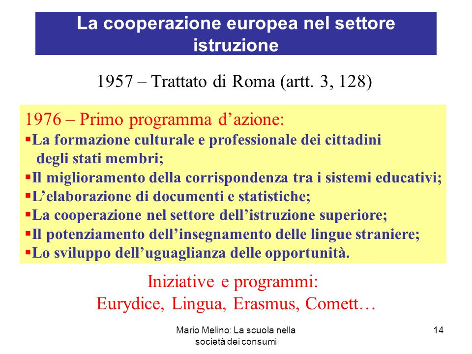 Mario Melino: La scuola nella società dei consumi 14 La cooperazione europea nel settore istruzione 1957 – Trattato di Roma (artt.