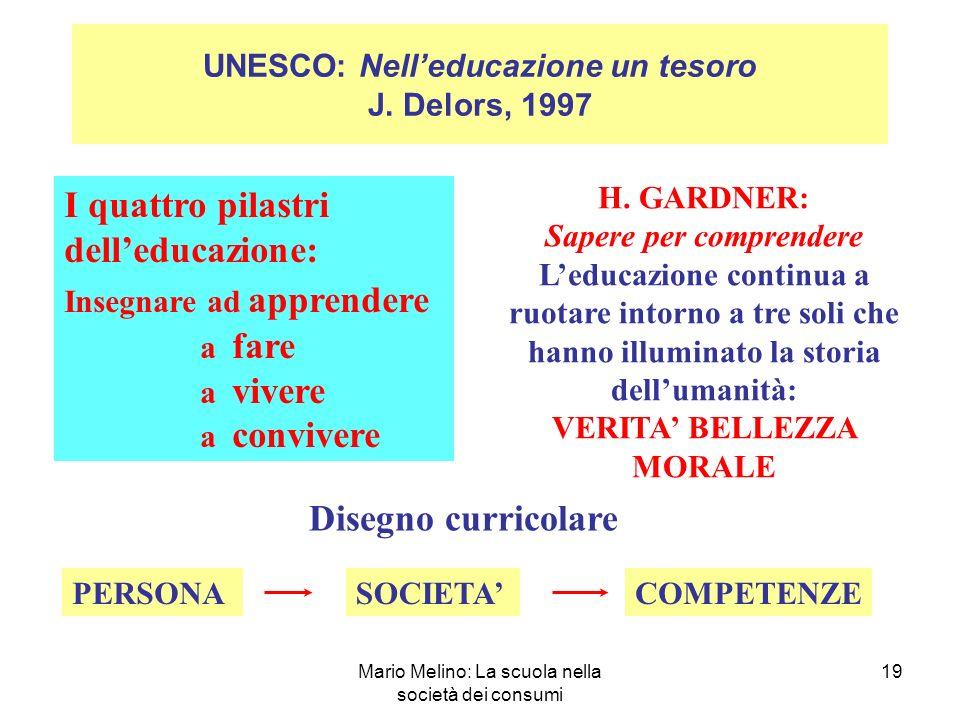 Mario Melino: La scuola nella società dei consumi 19 UNESCO: Nelleducazione un tesoro J.