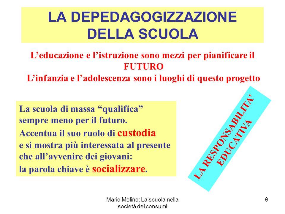Mario Melino: La scuola nella società dei consumi 9 LA DEPEDAGOGIZZAZIONE DELLA SCUOLA Leducazione e listruzione sono mezzi per pianificare il FUTURO Linfanzia e ladolescenza sono i luoghi di questo progetto La scuola di massa qualifica sempre meno per il futuro.