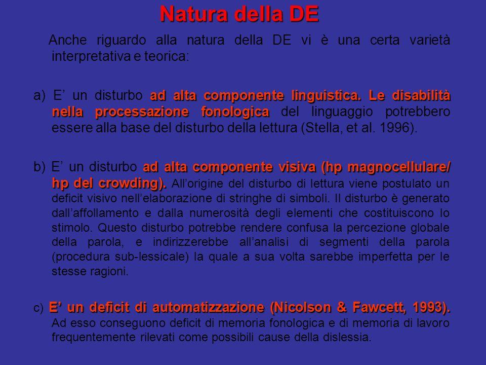 Natura della DE Anche riguardo alla natura della DE vi è una certa varietà interpretativa e teorica: ad alta componente linguistica.