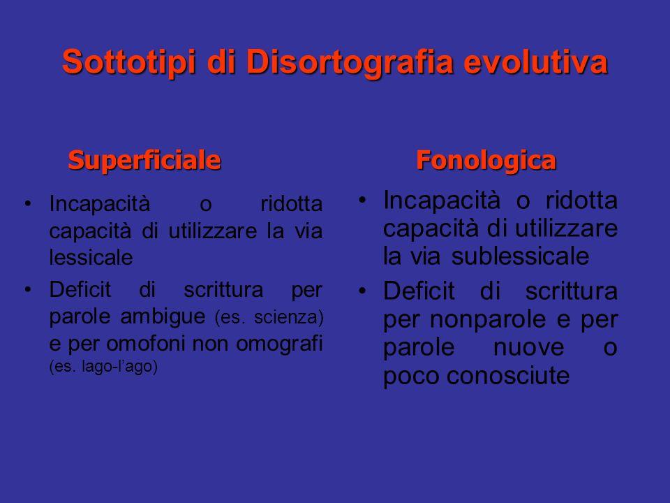 Sottotipi di Disortografia evolutiva Incapacità o ridotta capacità di utilizzare la via lessicale Deficit di scrittura per parole ambigue (es.